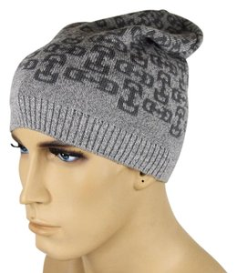 Gucci New Gucci Gray Wool Beanie Hat with Horsebit Pattern 369627 1763