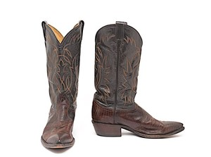 Tony Lama Lizard Western Brown, Black Boots