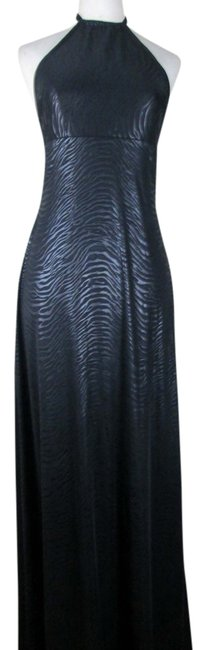 Black Maxi Dress by Lisa Nieves Lycra Animal Print Faux Leather Face Jersey Stretchy Halter Full Length Formal Comfortable Evening Sleeveless Summer