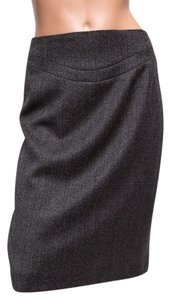 Elie Tahari Lined Wool Blend Knee Length Skirt Brown
