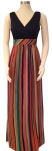 Black with various colored stripes Maxi Dress by Phoebe Couture