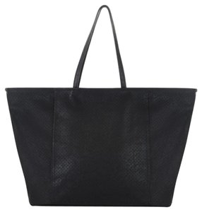 BCBGeneration Perforated Pockets Zip Silver Tote in black