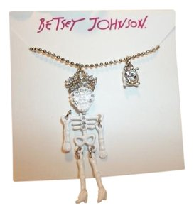 Betsey Johnson Betsey Johnson Minis White Crystal Skeleton Pendant Necklace NWT $40