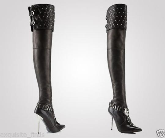 Versace Leather Thigh High Black Boots Image 1