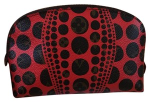 Louis Vuitton $25 Off With Code Mid25 Discontinued! Louis Vuitton Limited Edition Red Yayoi Kusama Cosmetic Pouch