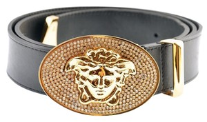 Versace New Versace Black Leather Belt with Gold Crystal Buckle