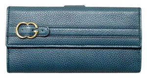 Gucci GUCCI Leather Clutch Continental WALLET w/Coin Pocket Blue 270002
