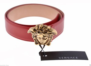 Versace New Versace Red Leather 3D Medusa Belt