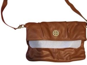 Tory Burch Leather Crossbody Logo Reva Brown Messenger Bag