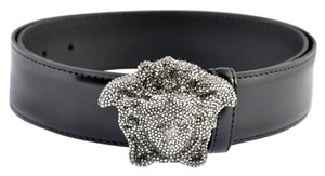 Versace VERSACE CRYSTAL 3D MEDUSA BLACK PATENT LEATHER BELT
