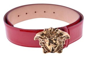 Versace New Versace Red Patent Leather 3D Medusa Belt