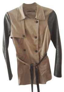 Haven Dark Tan/Bacl Faux Leather Leather Jacket