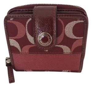 Coach ZIP AROUND WLLET MEDIUM TRI COLOR RARE WINE RED