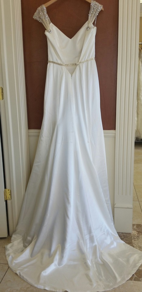 Maggie Sottero Ivory Satin Ivy Vintage Wedding Dress Size 8 (M ...