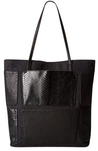 BCBGeneration Patchwork Snakeskin Felt Pockets Strappy Tote in black