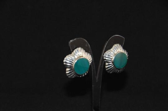 Other Signed 'N P' 925 Sterling Silver Lined Scalloped Edges Green Onyx NEW Image 1