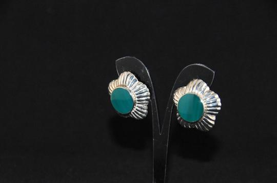 Other Signed 'N P' 925 Sterling Silver Lined Scalloped Edges Green Onyx NEW Image 2