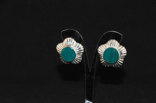 Other Signed 'N P' 925 Sterling Silver Lined Scalloped Edges Green Onyx NEW Image 3