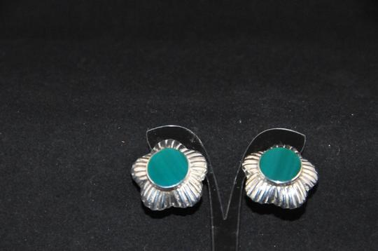 Other Signed 'N P' 925 Sterling Silver Lined Scalloped Edges Green Onyx NEW Image 5