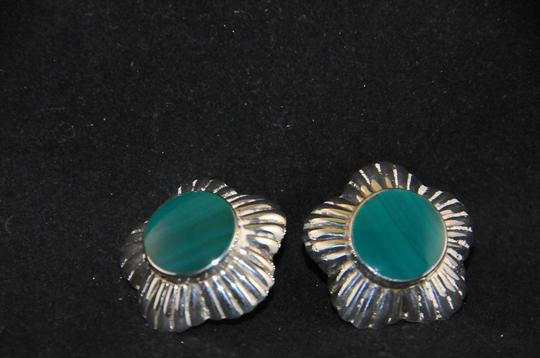 Other Signed 'N P' 925 Sterling Silver Lined Scalloped Edges Green Onyx NEW Image 8
