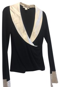 White House | Black Market Polyester Top Black and Creme