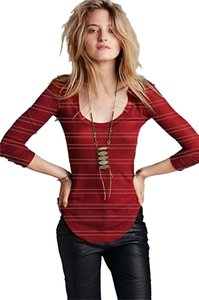 Free People Yarn Slub Ribbed Layering Top Red Combo