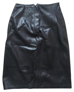 Lanna Soft Leather Skirt Black