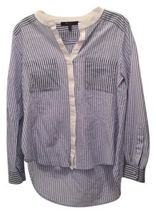 BCBGMAXAZRIA Button Down Shirt Light Blue Combo