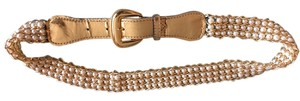 Pearl Collection White pearls and gold chain belt