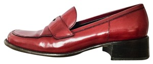 Prada Leather Loafer Red Flats