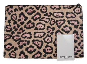 Givenchy New Zipper Top Pink Black Tan Cosmetic Leopard or Animal Print Clutch