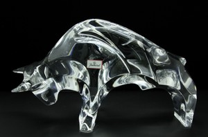 Baccarat Crystal Taureau Wall Street Bull Sculpture With Tag(signed)