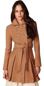 Free People Military Vintage Camel Trench Pea Coat