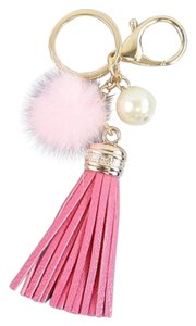 Other Pink Fur Pom Pom Leather Tassel Pearl Accent Bag/Purse Charm Key Chain