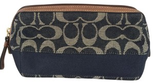 Coach Denim Signature C Make-Up Bag Blue