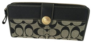 Coach SIGNATURE C SNAP ZIP AROUND WALLET BLACK