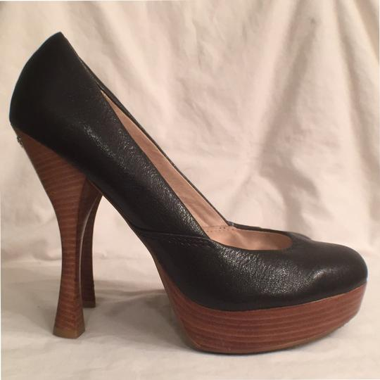 Michael Kors Leather Pump Formal New Mk Black Brown Platforms Image 3