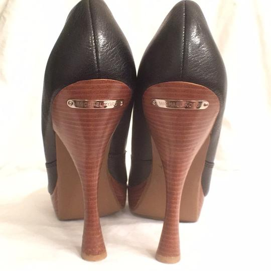 Michael Kors Leather Pump Formal New Mk Black Brown Platforms Image 4