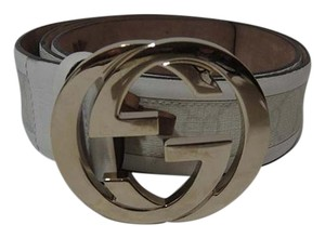 Gucci Authentic Gucci Canvas Interlocking Golden Gg Whiteleather Belt