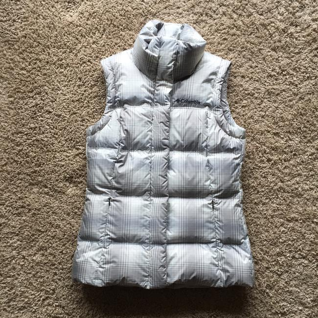 Item - Grey/Blue Plaid Down Vest Size 6 (S)
