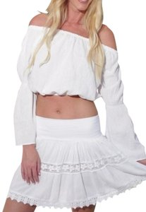 Lirome Summer Chic Sexy Boho Western Top White