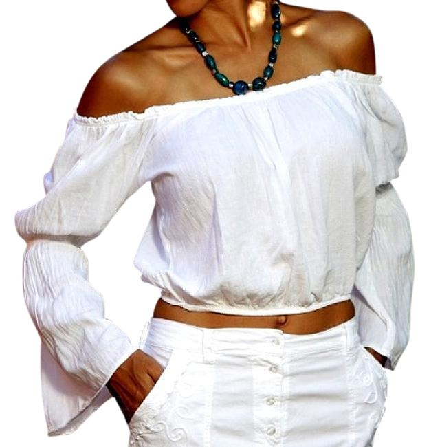 Lirome Summer Chic Sexy Boho Western Top White Image 2