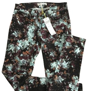 BCBGeneration Printed Denim Skinny Multi Colored Artsy Skinny Jeans-Dark Rinse