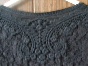 Coldwater Creek Lace Lacey Embroidered Top Black