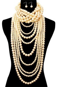 Other Multi Strand Twisted Pearl Choker Necklace And Earrings Set