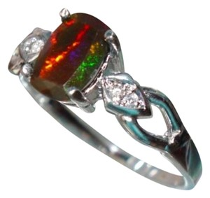 Other Beautiful Red Opal gemstone Sterling Silver Ring