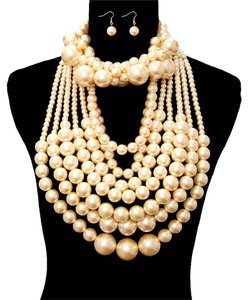 MultiLayer Twisted Chunky Pearl Choker Necklace Bib And Earrings Set