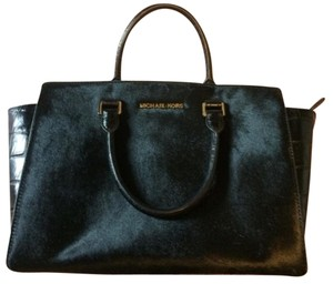 Michael Kors Leather Fuax Fur Satchel in Black