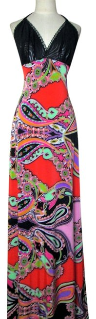 multicolor Maxi Dress by Lisa Nieves Paisley Maxi Faux Leather Sundress Halter