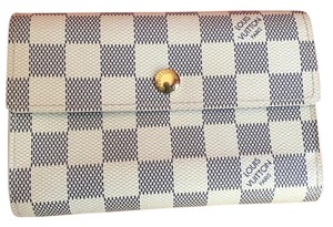 Louis Vuitton Authentic LV Damier Azur Canvas Alexandra Trifold Wallet Box Dustbag EUC 13 CC Card Slots